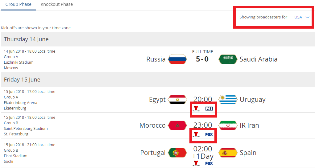 World Cup official site lists all broadcasters of each country