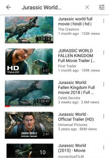search-Jurassic world-YouTube-InsTube